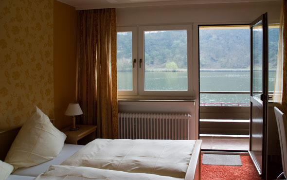 the interiour of one of our rooms, with a balcony facing the river Mosel